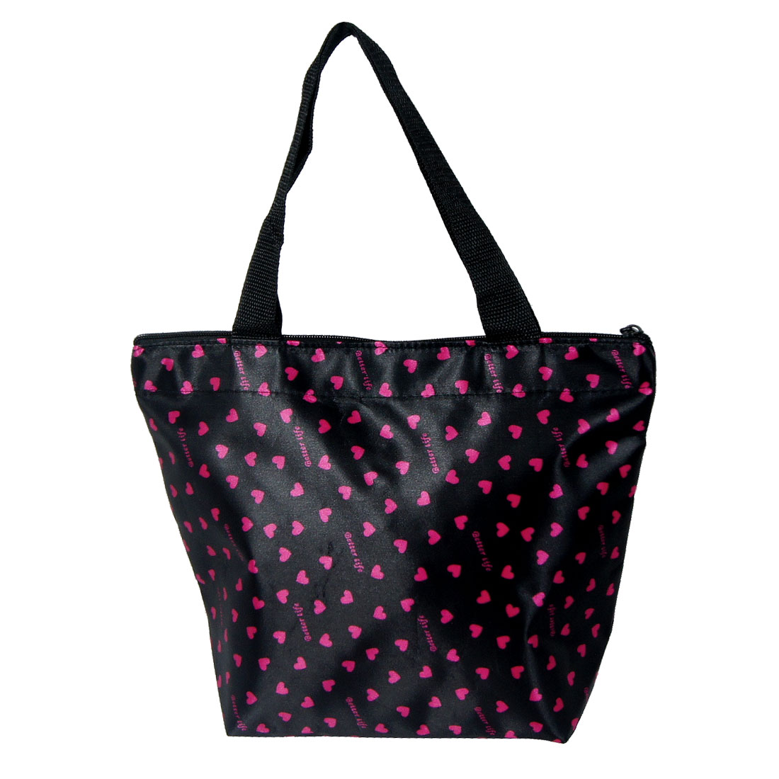 Multi Pink Heart Prints Black Nylon Polyester Coated Zipper Handbag for Lady
