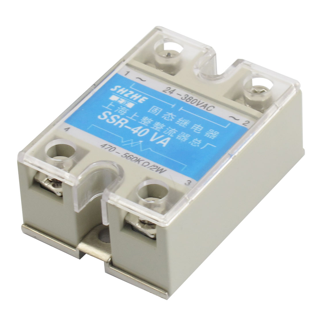 SSR-40VA 40A AC 24-380V Output Covered Adjustable Solid State Module Relay