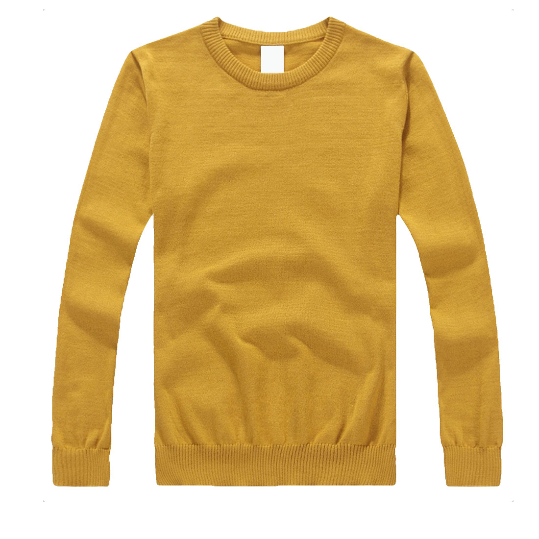 Men Mustard Stylish Long Sleeve Pullover Pure Color Simple Fall Knit Shirt S