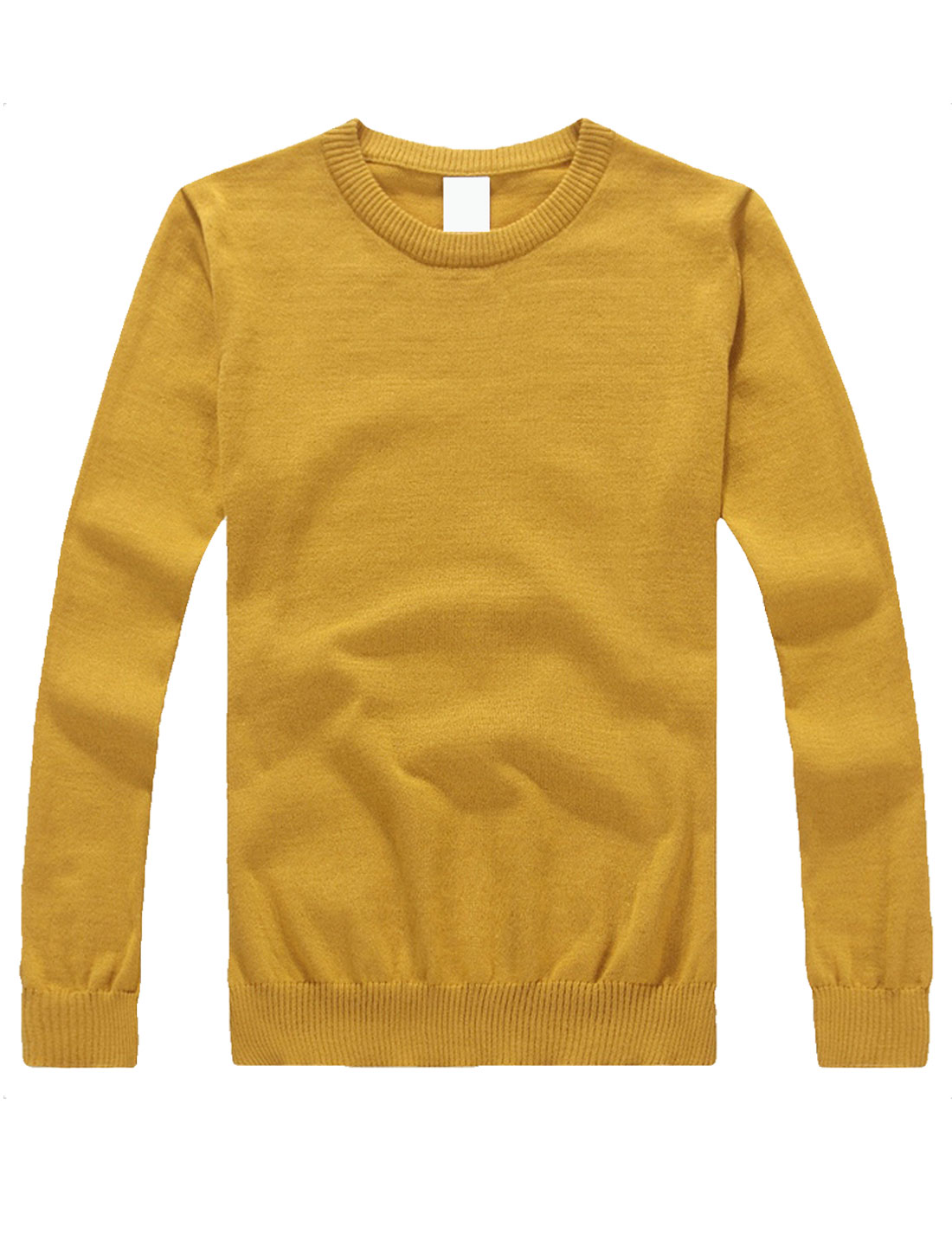 Mens Mustard Stylish Ribbing Hem Solid Color Simple Design Fall Knit Shirt S