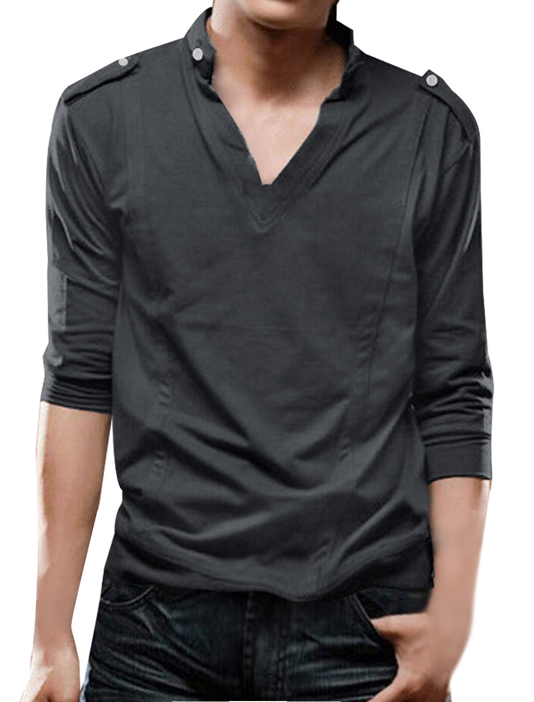 Mens Dark Gray V Neckline Solid Color Button Decor Collar Fall Shirt S