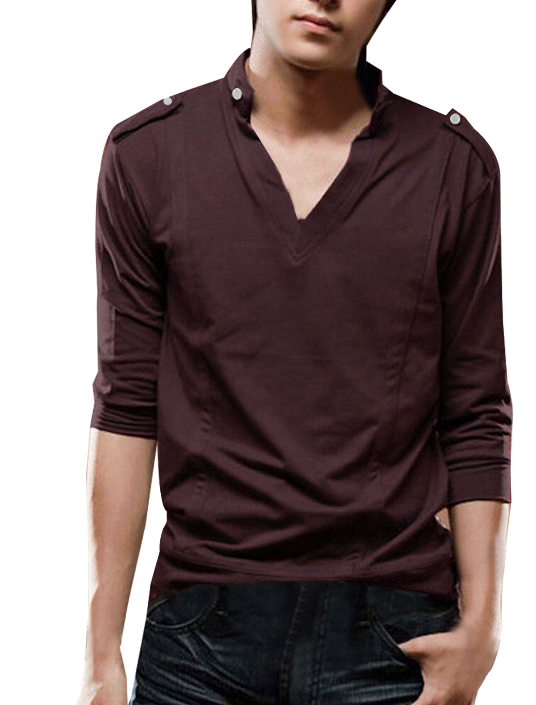 Men Burgundy Simple Design V-neck Button-tab Solid Color Autumn Slim Shirt S