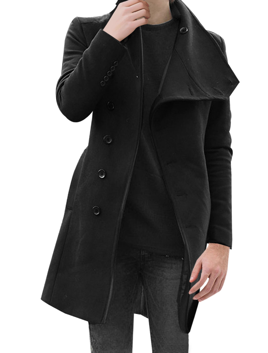 Mens Black Stylish Convertible Collar Long Sleeve Single Breasted Slant Pockets Trench Coat M
