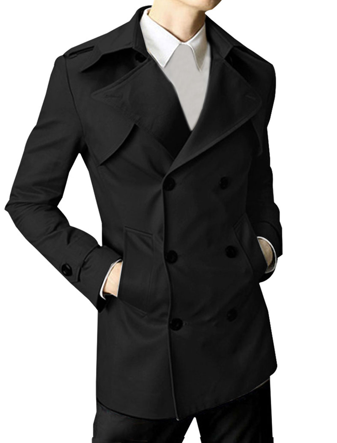 Mens Black Stylish Long Sleeve Peaked Lapel Slant Pockets Double Breasted Jacket M