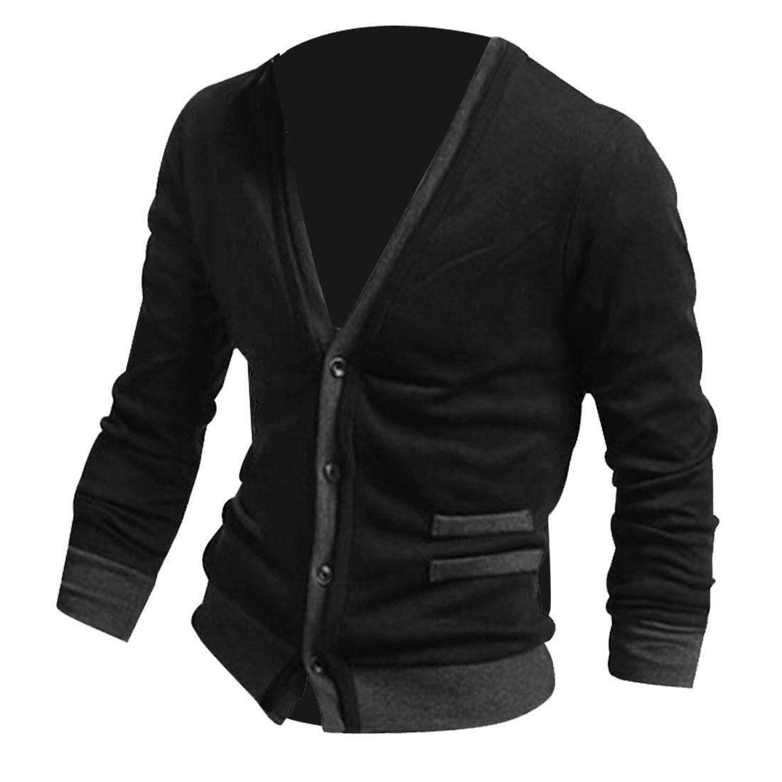 Mens Black Stylish Deep V Neck Long Sleeve Single Breasted Fake Pockets Cardigan S