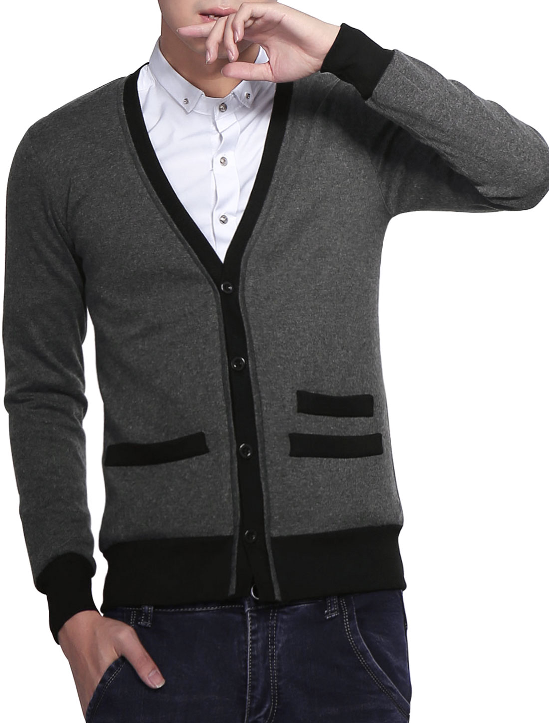 Men Dark Gray Fashion Long Sleeve Button Closure Decorative Pockets Cardigan S
