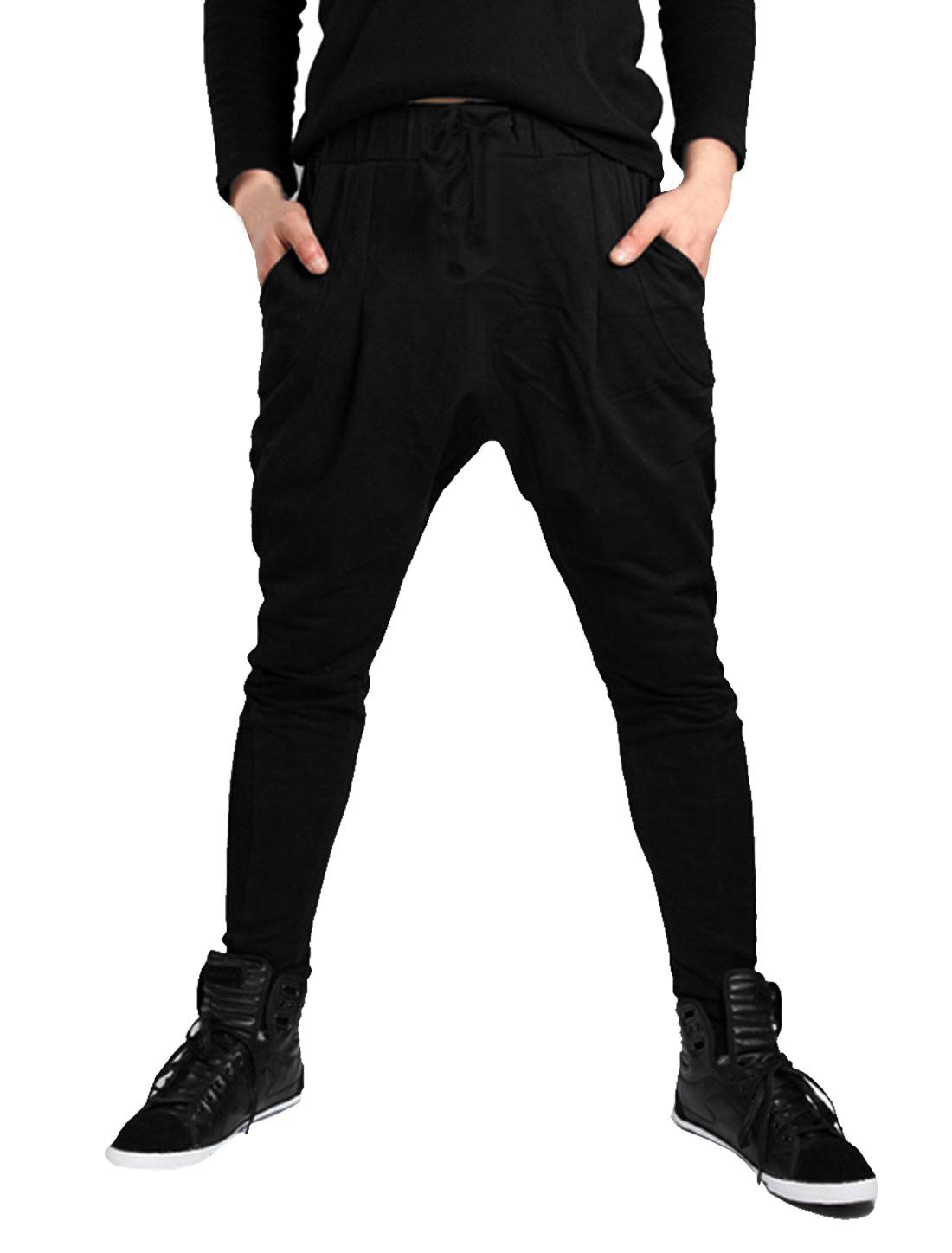 Men Black Stylish Elastic Waist Drawstring Baggy Pockets Casual Harem Pants W30
