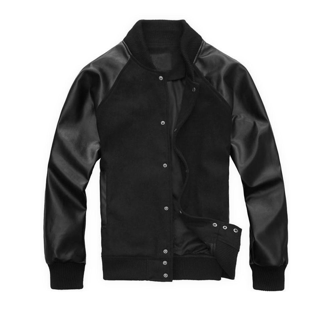 Mens Black Stylish Long Sleeve Stand Collar Single Breasted Slant Pockets Jacket M