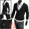 Mens Black Long Sleeve Double Breasted Decorative Pockets Front Casual Cardigan M