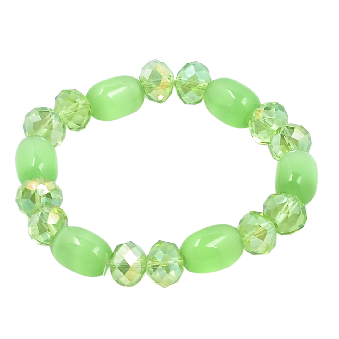 Women Plastic Oval Cat Eye Beads Stretch Bracelet Bangle Green