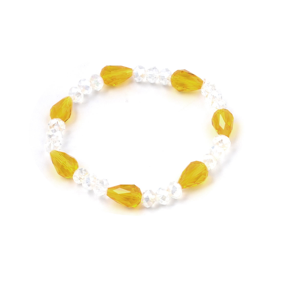 Women Yellow Plastic Raindrop Shaped Clear Beaded Elastic String Bracelet