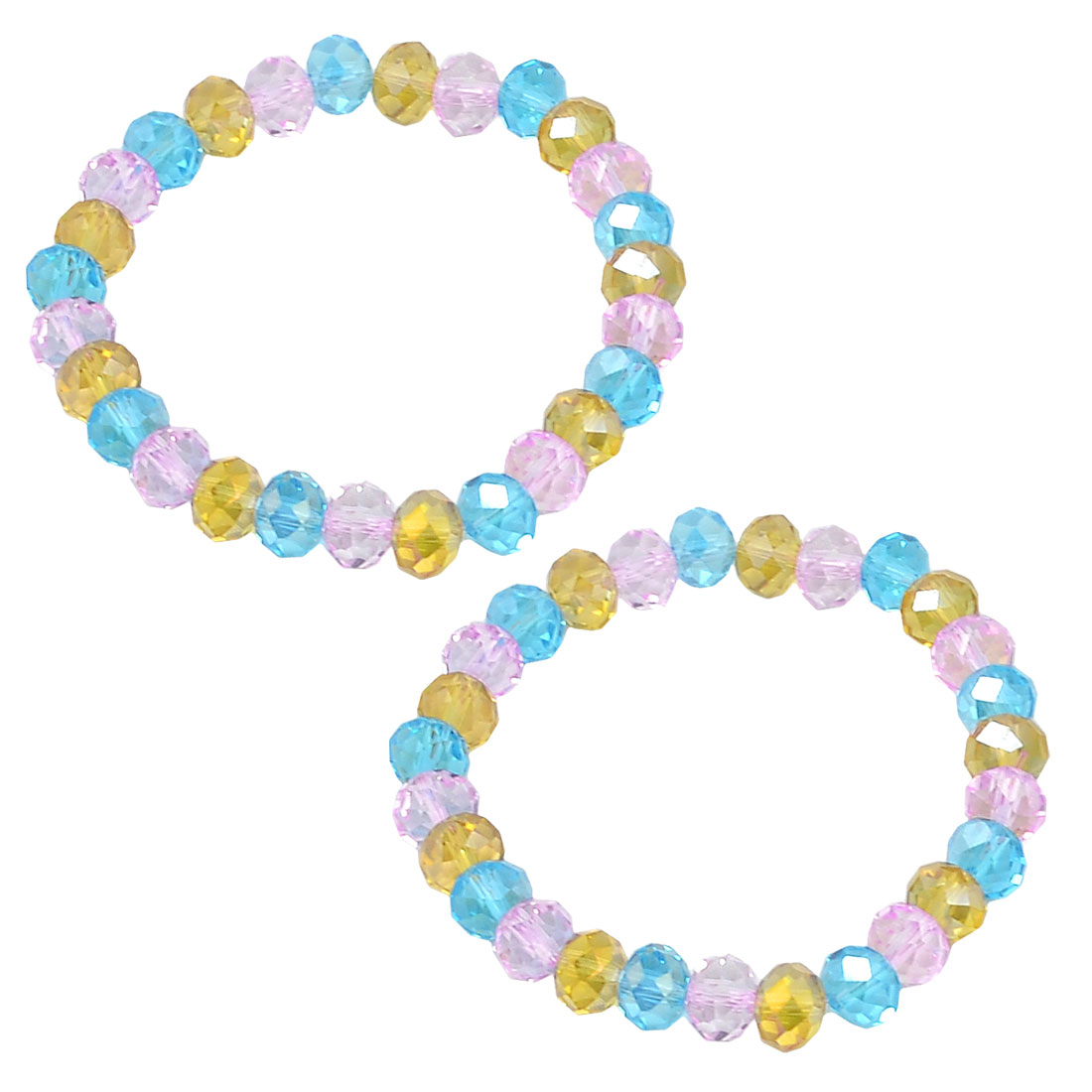 Women Tri Colors 8mm Dia Faceted Crystal Bead Linked Elastic Bracelets 2 Pcs