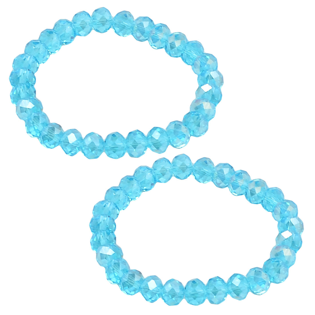 2 x Ladies 8mm Dia Plastic Crystal Beads Stretch Bracelets Bangle Clear Blue