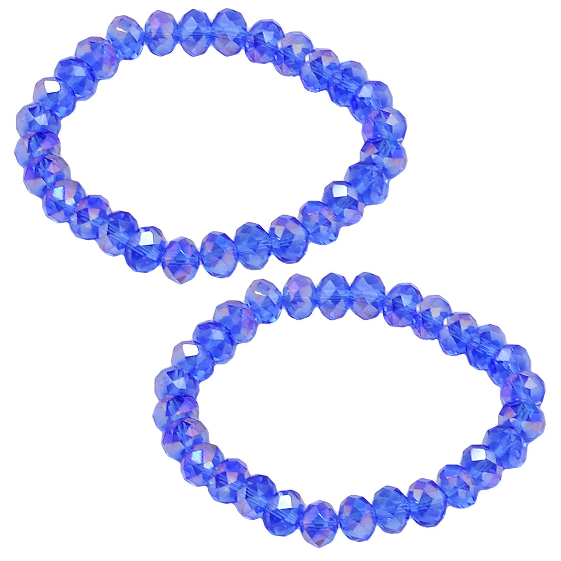 2 Pcs Lady 8mm Dia Plastic Crystal Beads Stretch Bracelets Bangle Blue