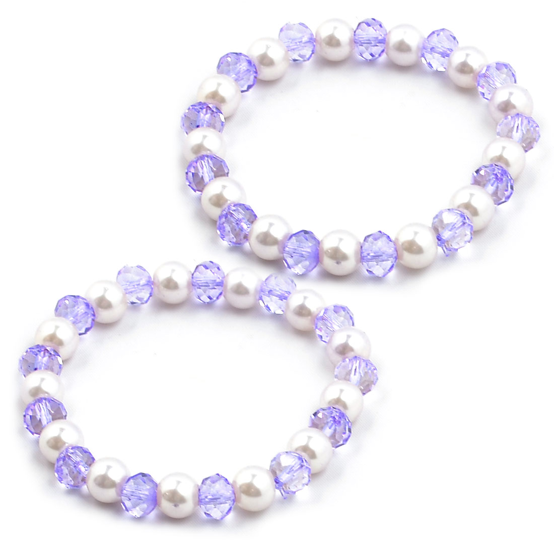 Pair Artificial Pearl Beads Stretch Bracelet Jewelry White Clear Purple