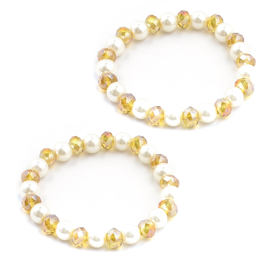Women Clear Yellow Plastic Crystal Beaded Stretch Bracelets Bangles Pair