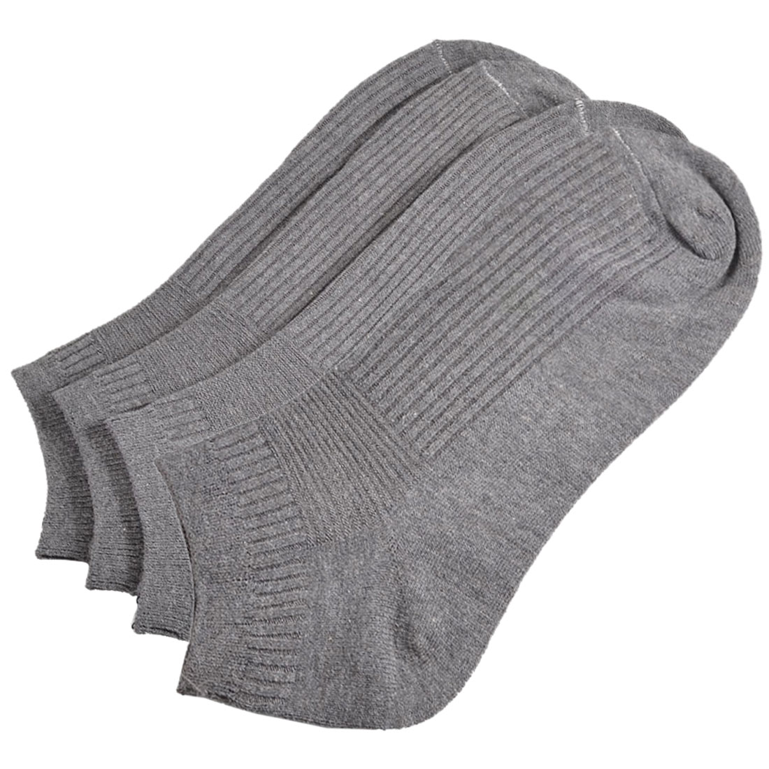 Mens Gray Solid Color Short Low Cut Running Casual Socks 2 Pairs