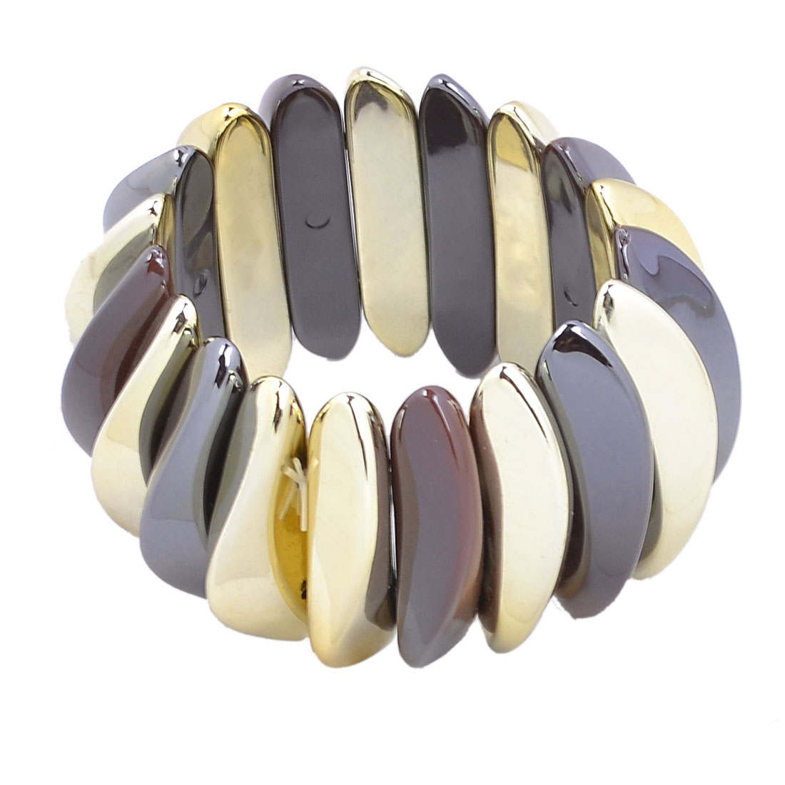 Ladies Plastic Arc Shape Beaded Stretch Bracelet Bangle Gold Tone Brown