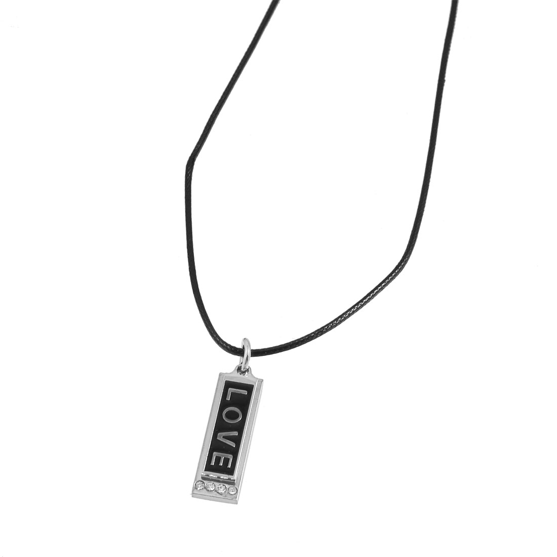 Lover Rectangle Pendant Adjustable String Necklace Black Dark Gray Pair