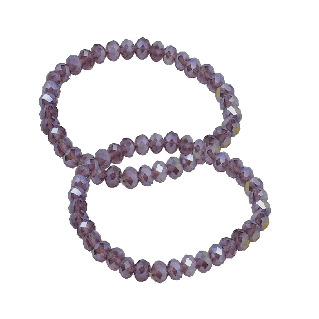 2 Pcs Lady 6mm Dia Plastic Crystal Beaded Stretch Bracelets Bangle Purple
