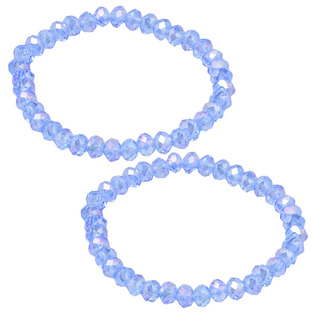 2 x Glitter Blue Faux Crystal Beads Stretchy Bracelets Bangle for Woman