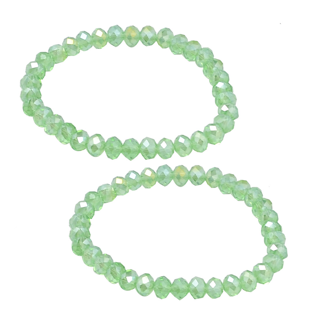 Women Green 6mm Dia Faceted Crystal Bead Linked Elastic Bracelets 2 Pcs
