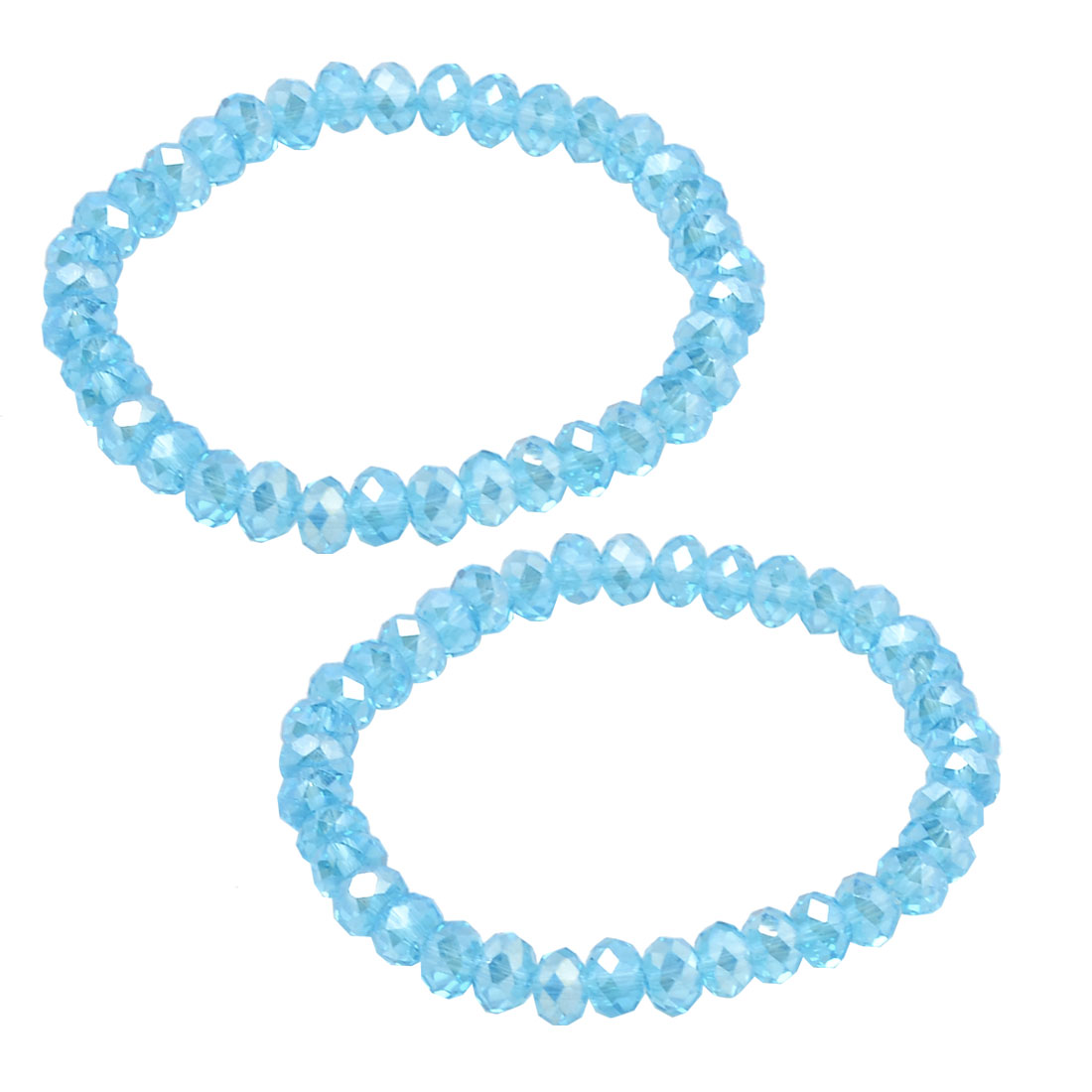 2 Pcs Lady 6mm Dia Plastic Crystal Beaded Stretch Bracelets Bangle Sky Blue