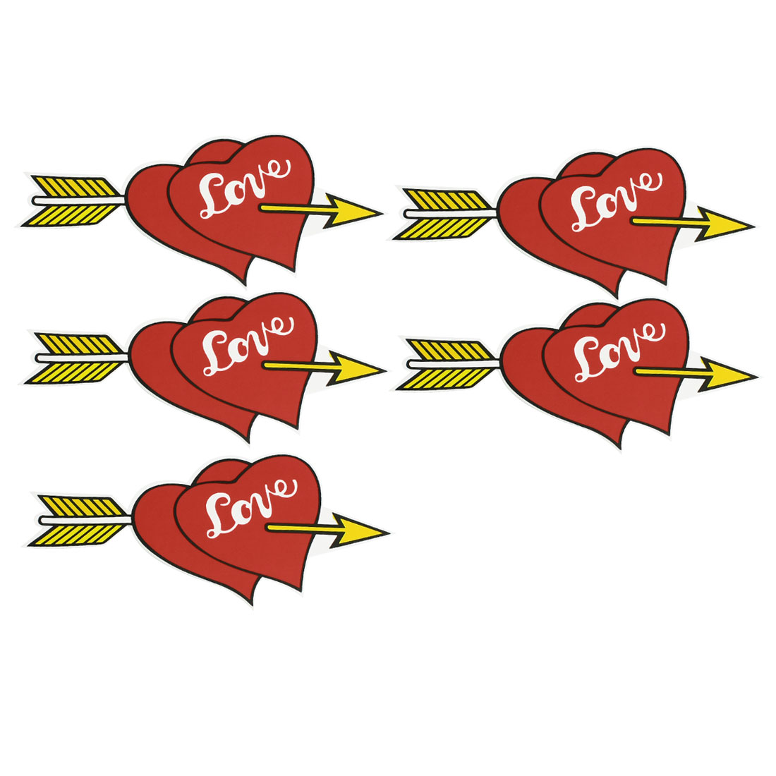 5 Pcs Double Red Heart Yellow Arrow Style Auto Car Stickers Decal