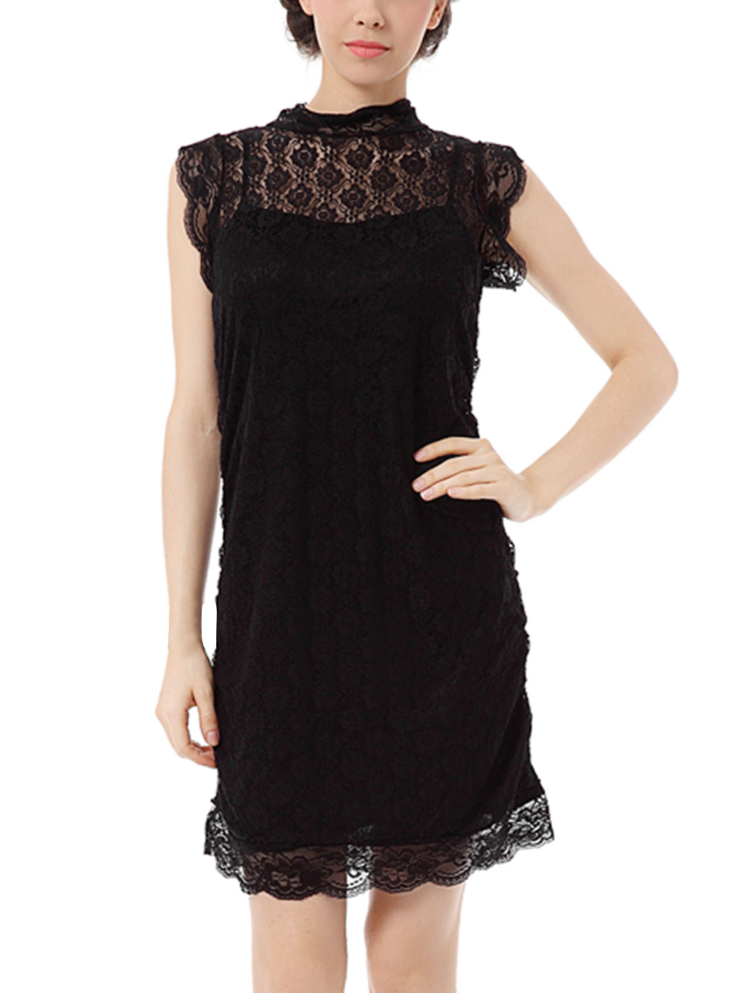 Woman Lace Guipure Overlay Sleeveless Stand Collar Mini Dress Black M