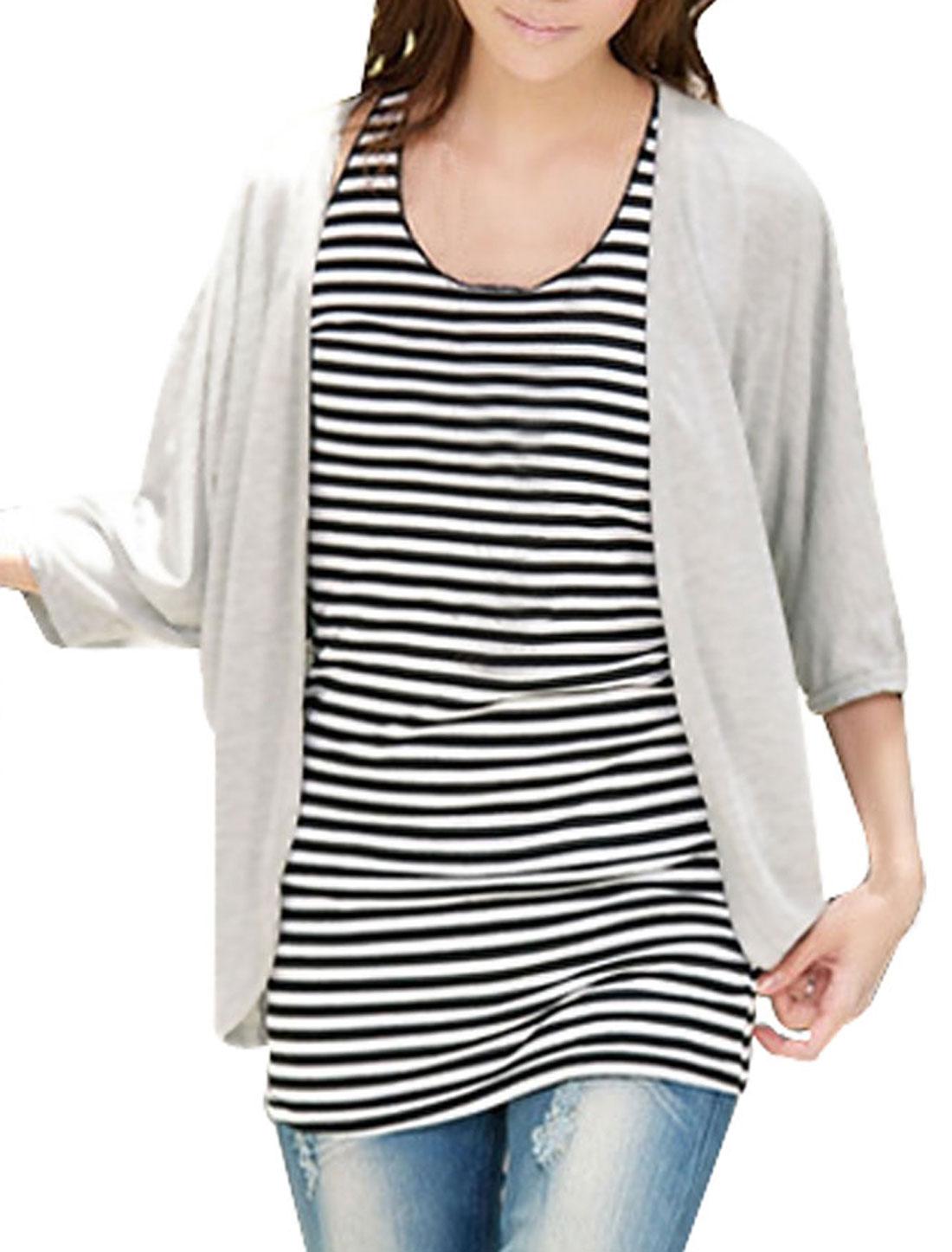 Women Gray Casual 3/4 Sleeve Cardigan w Sleeveless Pullover Stripes Shirt XS