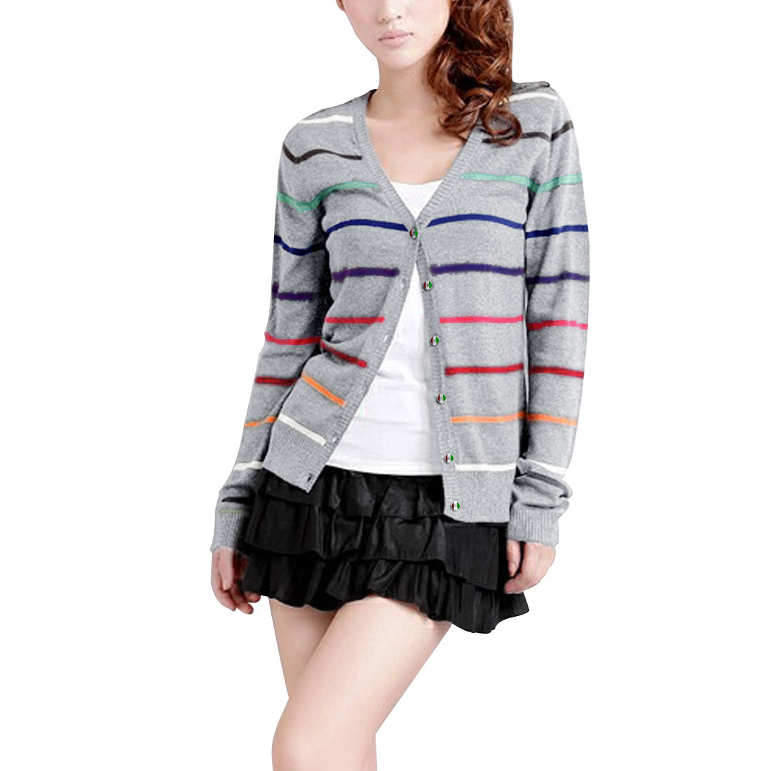 Women Light Gray Single Breated Long Sleeve Stripes Spring Knit Cardigan XS