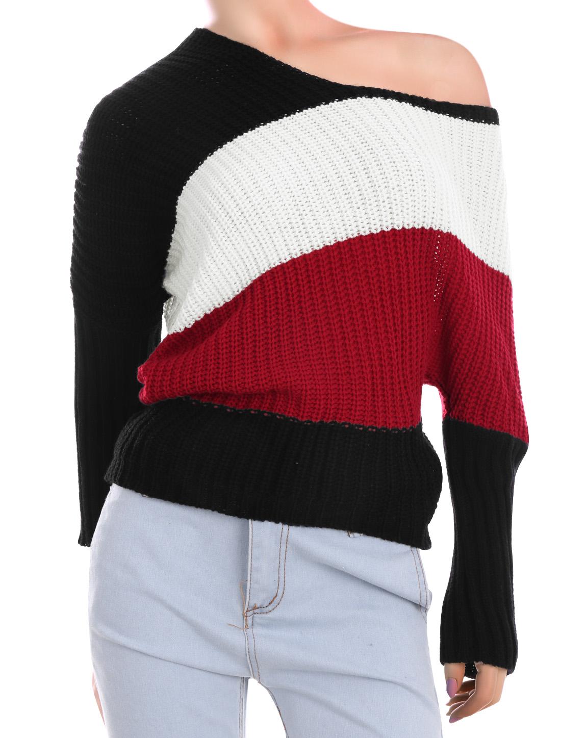 Women Scoop Neck Dolman Sleeves Color Block Sweater Red XS