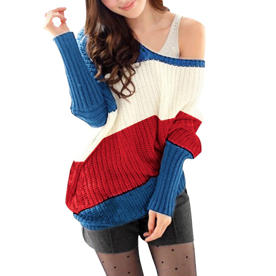 Women Scoop Neck Dolman Sleeves Color Block Sweater Blue XS