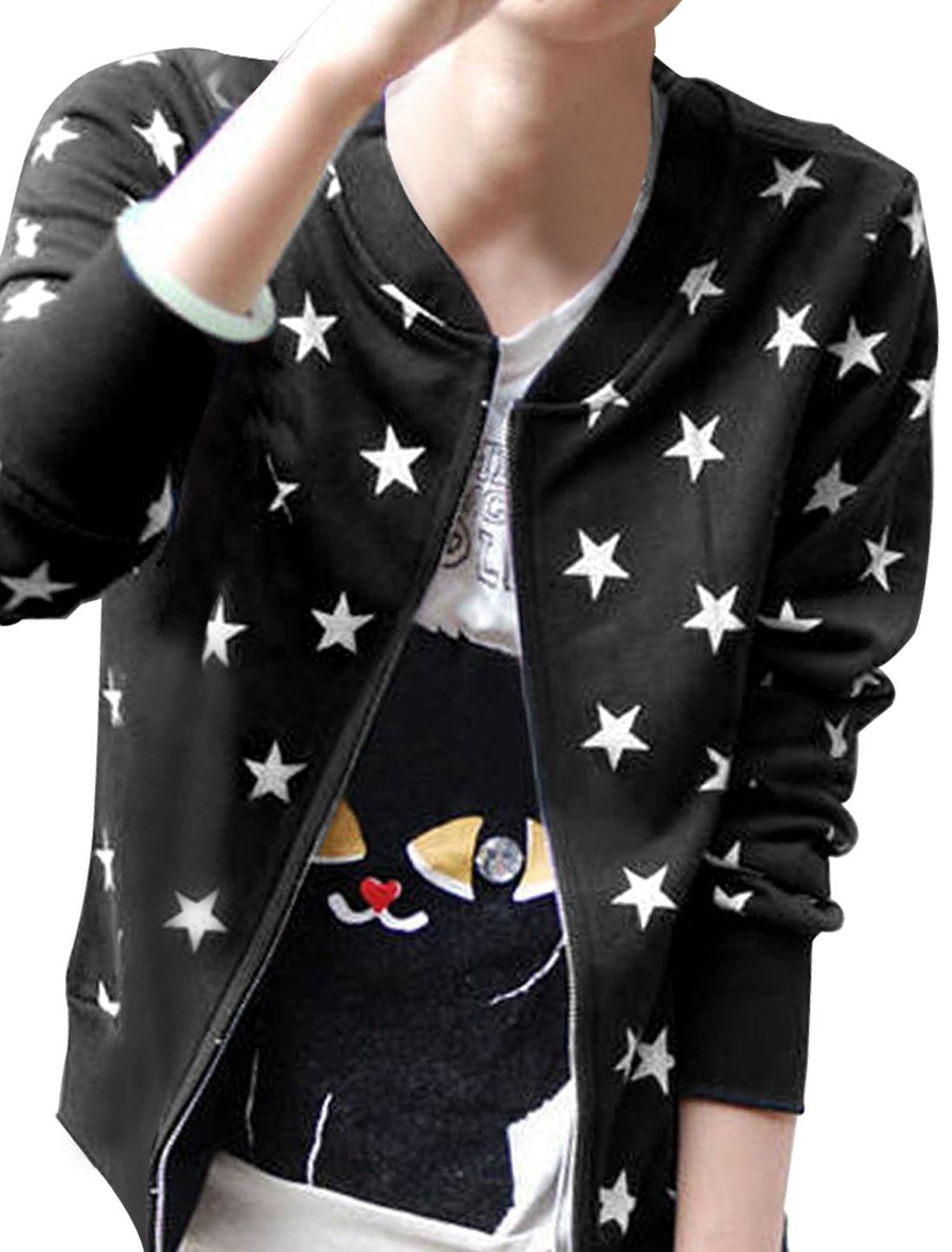 Women Black Stand Collar Long Sleeve Stars Prints Casual Autumn Coat XS