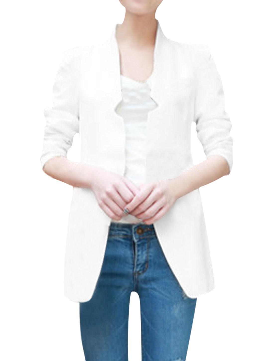 Ladies White Fashion Hook Eye Closure Long Sleeve Spring Blazer Coat S