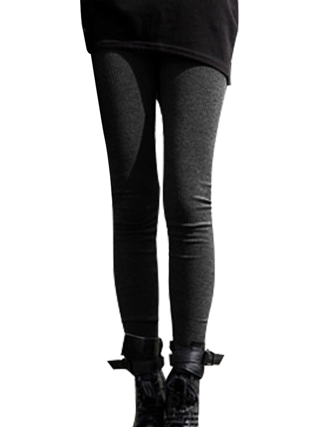 Ladies Black Elastic Waist Form-fitting Cropped Leggings XS