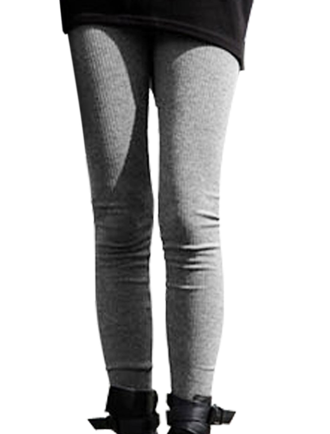 Ladies Heather Grey Autumn Elastic Weight Skinny Cropped Leggings XS