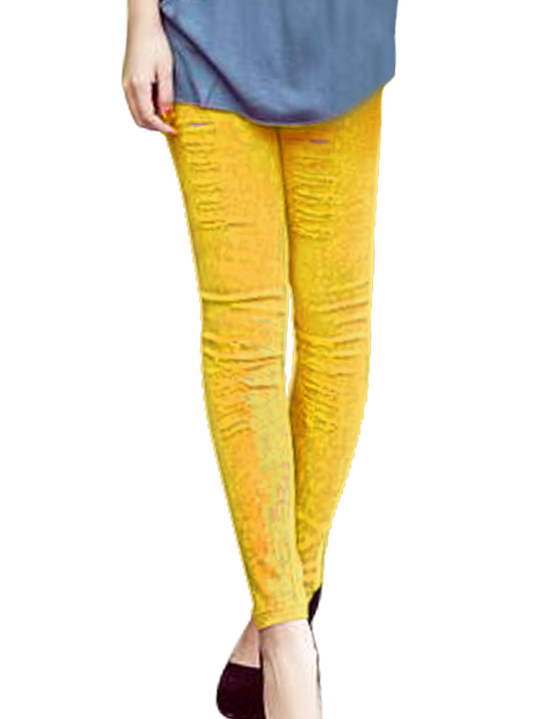 Ladies Elastic Waist Destroyed Washed Skinny Jeans Yellow XS