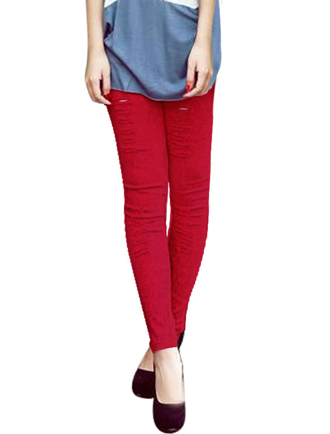 Ladies Elastic Waist Destroyed Washed Skinny Jeans Red XS