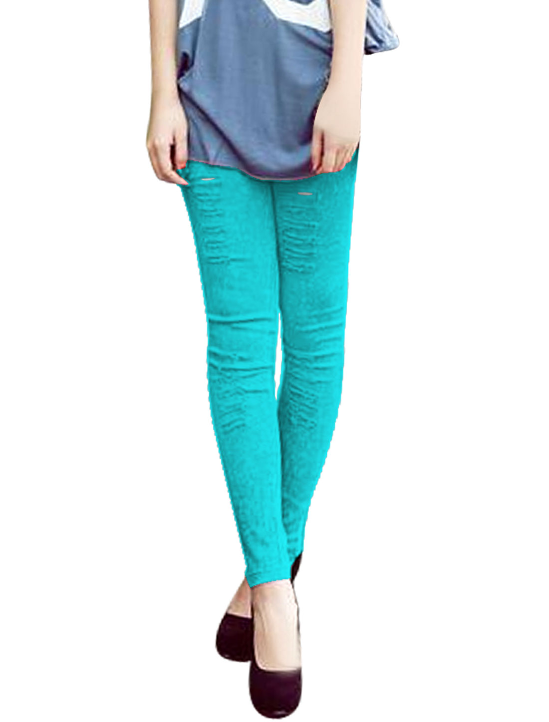 Ladies Elastic Waist Destroyed Washed Skinny Jeans Sea Blue XS