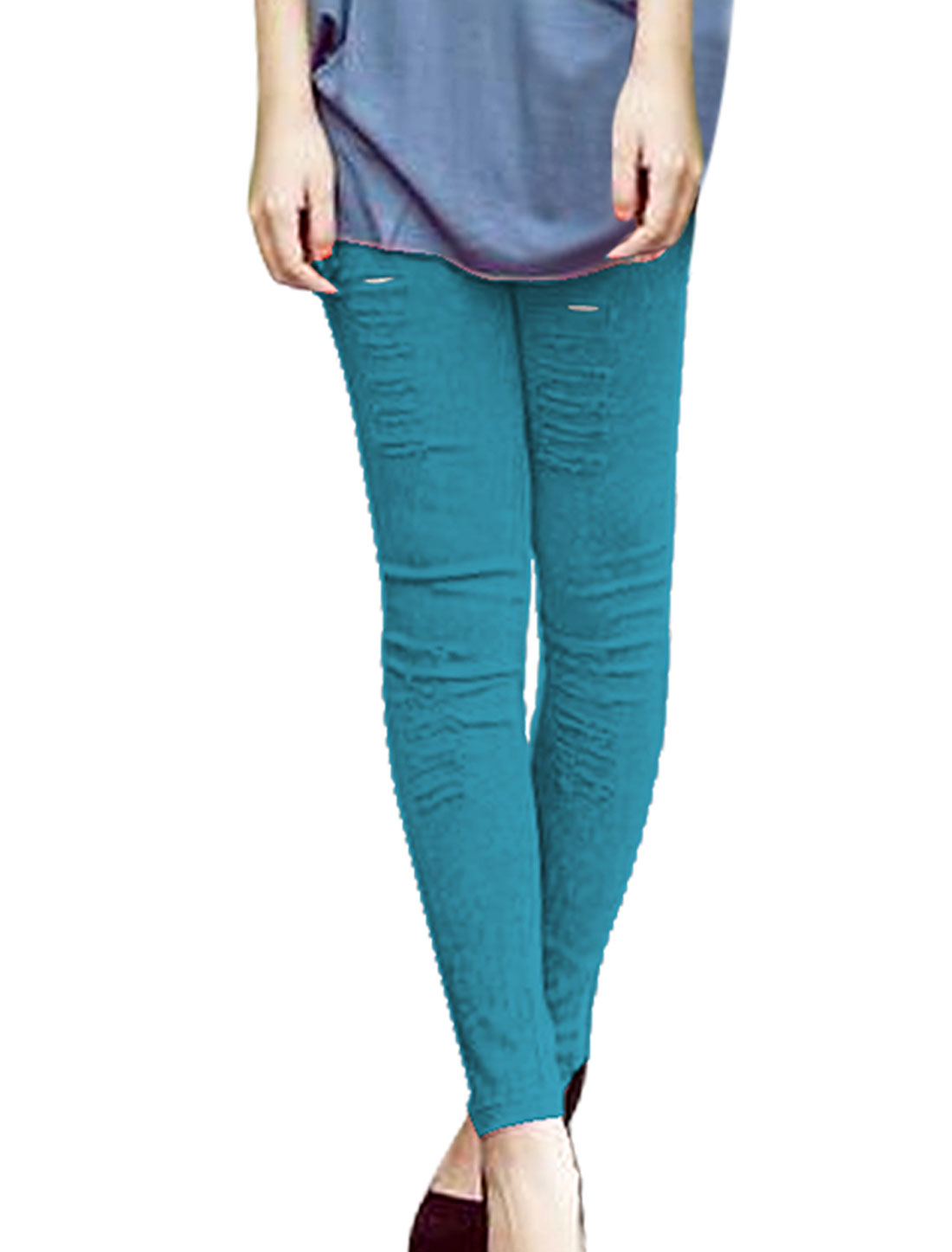 Ladies Elastic Waist Destroyed Washed Skinny Jeans Turquoise XS
