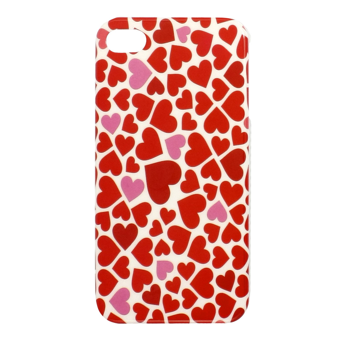 Red Hearts Pattern White IMD Plastic Back Guard for iPhone 4 4G