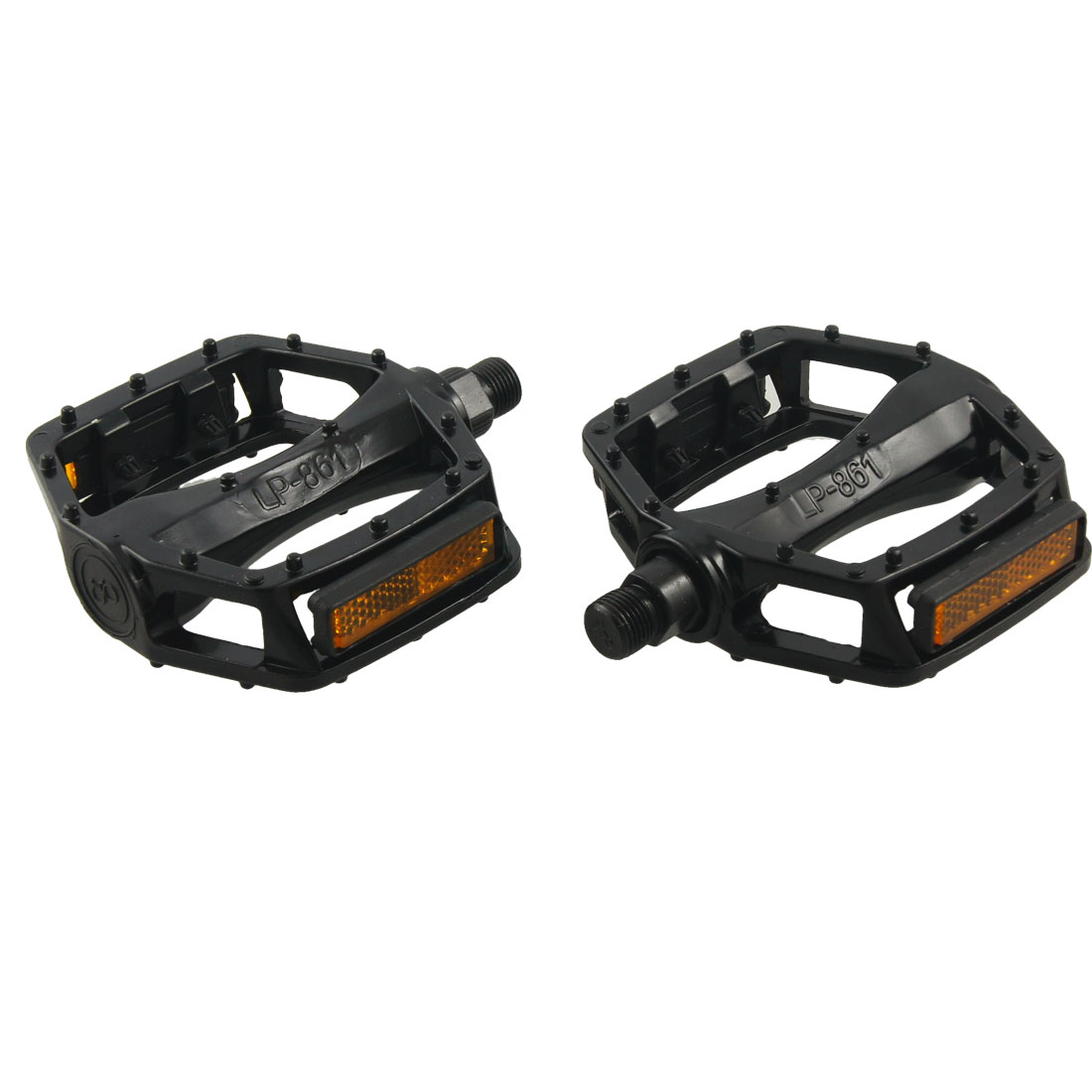 Bike Bicycles Pair Black Yellow Metal 14mm Axle Platform Pedals