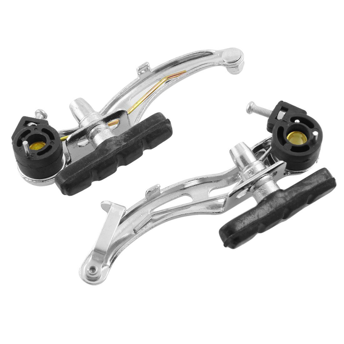 Mountain Bike Bicycle Silver Tone Black Front Rear Brake Pair