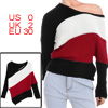 Women Scoop Neck Dolman Sleeves Color Block Sweater Red XS