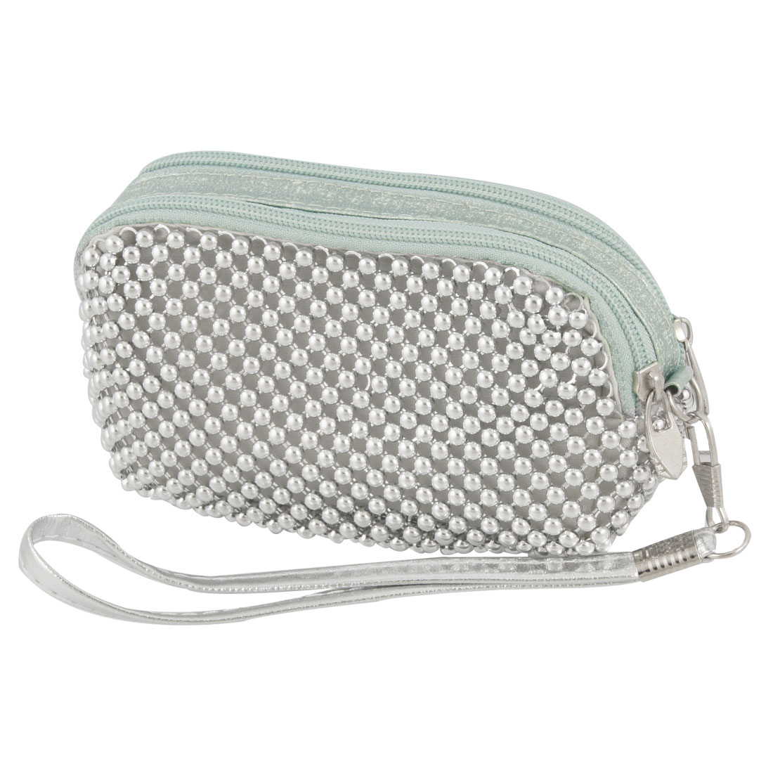 Lady Silver Tone Metal Beads Zip up Wristlet Purse w Removable Strap