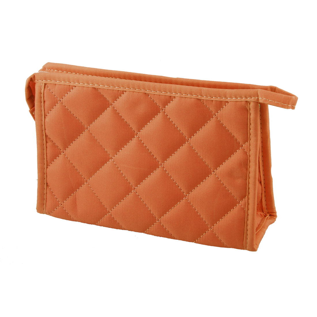 "7.5"" Long Grid Pattern Rectangle Shape Makeup Zipper Bag Orange for Woman"