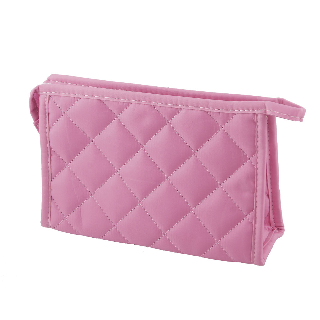 "7.5"" Long Grid Pattern Rectangle Shape Makeup Zipper Bag Pink for Ladies"