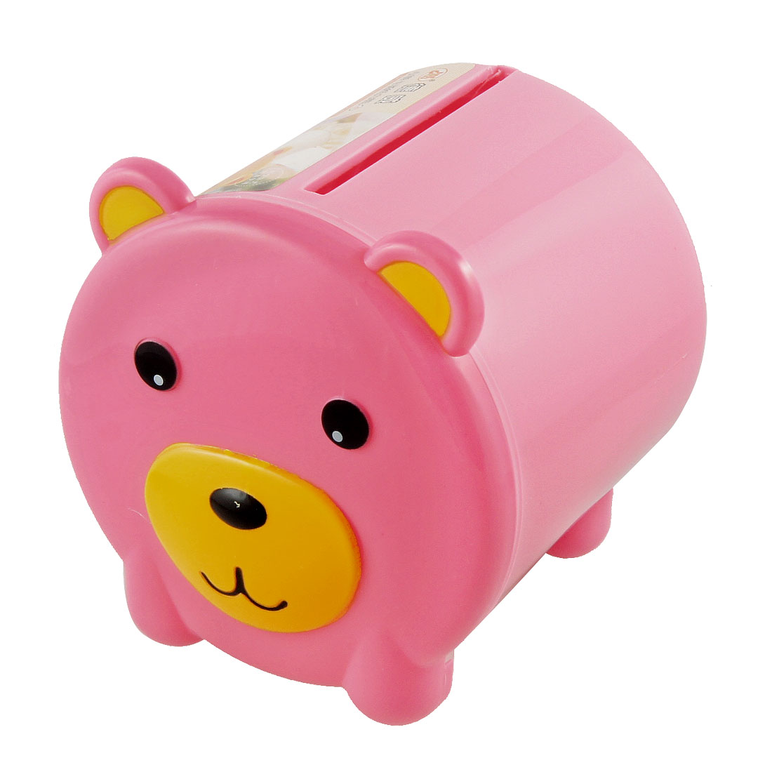 Pink Bear Cover Hard Plastic Cylindrical Tissue Box Container