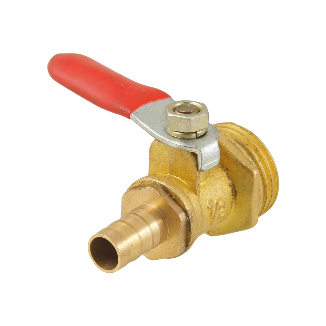 "1/2"" PT Male Thread Red Plastic Coated Lever Handle Pneumatic Ball Valve"
